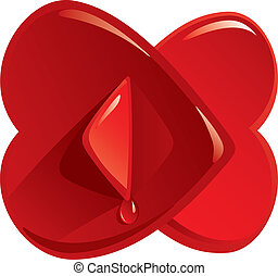 Two Hearts - Confluence of two hearts, vector illustration