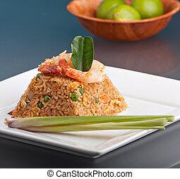 Shrimp Fried Rice Pyramid - A Thai dish of shrimp fried rice...