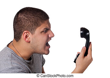 Man Screaming Into the Telephone - An angry and irritated...