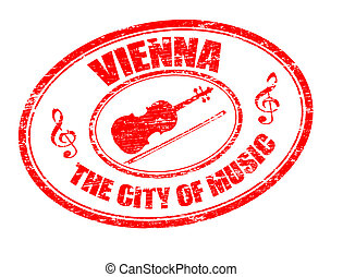 Vienna stamp - Grunge rubber stamp with violin shape and the...