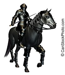 The Black Knight on Horseback - Mediaeval Knight in black...
