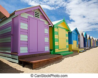 Colourful beach huts in Australia - Colourful beach huts at...