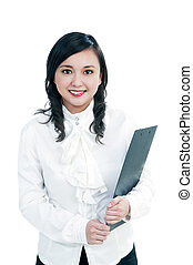 Attractive businesswoman holding file