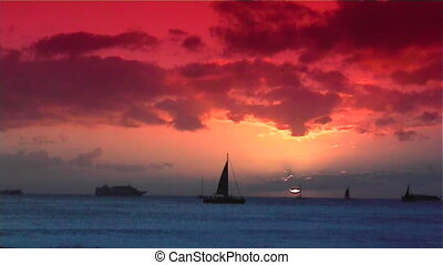 Honolulu sunset - Sunset with sailboat honolulu Hawaii