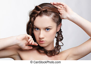 girl with creative hair-do - hairstyle portrait of beautiful...