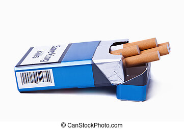 Blue Pack of Cigarettes - Isolated image of a blue pack of...