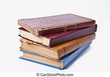 Stack of Old Books - old books on white background