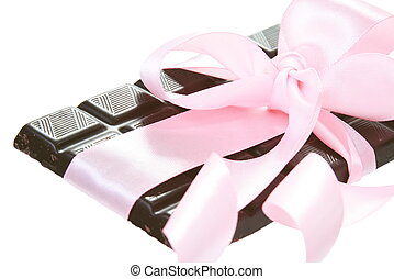 Gift Bitter Chocolate with Pink Bow - Gift Bitter Chocolate...
