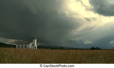 Country Church - Small country church with storm clouds