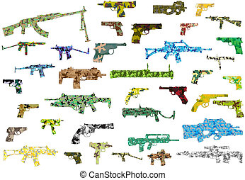 The weapon in a camouflage