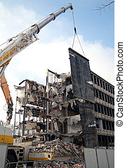 Demolition - Office building being torn down - lots of...