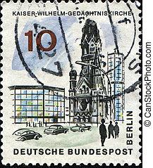 Kaiser Wilhelm Memorial Church - GDR - CIRCA 1978: A stamp...