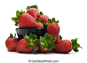 Fresh healthy strawberries in a bowl on a white background with space for text