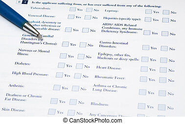 Medical form - Medical form that requires to fill out...