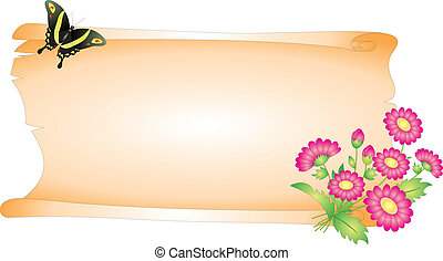 Blank vector - Blank and flower isolated on white background...