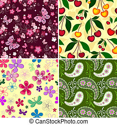 Set seamless spring patterns