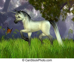 Cute Toon Unicorn in the Woodland