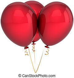 Red shiny balloons - Three party balloons colored scarlet...