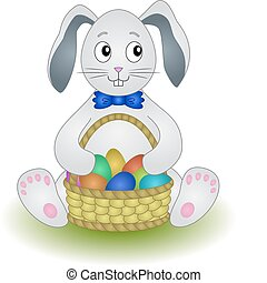 Rabbit with basket eggs