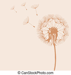 Blow Dandelions - Illustration of Blow Dandelions on color...
