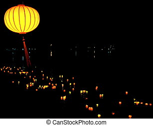 Lanterns on the River - colorful bright asiatic lanterns...