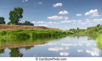 Rural landscape - Countryside landscape with river,lone tree...