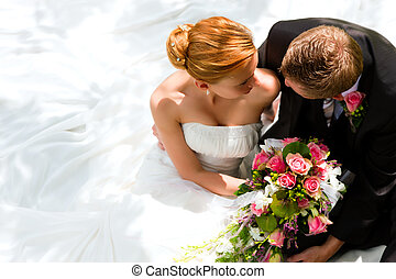 Wedding couple - bride and groom - wedding couple hugging,...