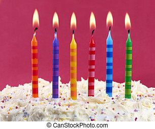 birthday cake with candles - birthday cake with 6 coloured...