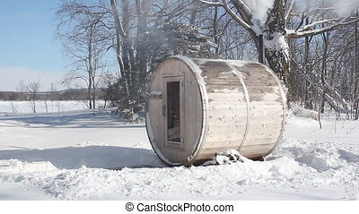 Wood-burning sauna. 2 shots. - Small wood burning sauna with...