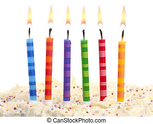 birthday candles on white - birthday cake with 6 coloured...