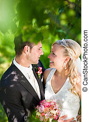 Wedding couple in romantic setting - Wedding couple...