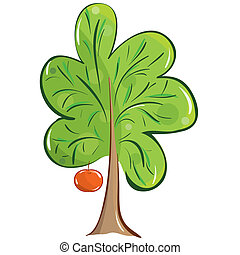 fruit tree - vector green fruit tree with an apple on a...