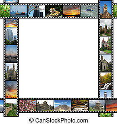 Frame with travel images films
