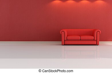minimalist red lounge - leather classic couch against red...