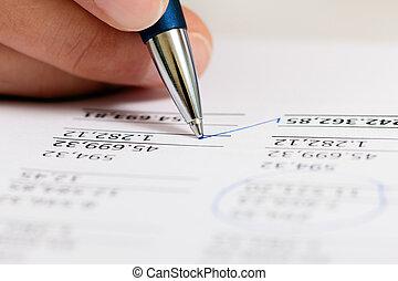 contador, trabajando, números