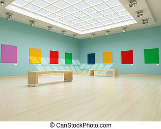 colored modern art gallery