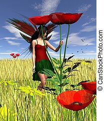 Red Poppy Fairy with Cornfield Back