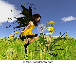 Dandelion Fairy in Springtime Field