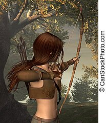 Young Elven Hunter in the forest - Young male elf archer...