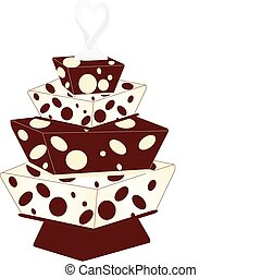 3 tiered Cake with Dots - 3 tiered Chocolate and vanilla...