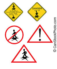Danger Thin Ice - Danger and warning signs for thin ice...