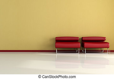 two red armchair