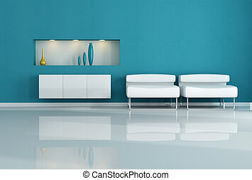 white armchair - two white armchair in a blue living room