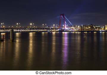 Willemsbrug Bridge and river Meuse at night - Willemsbrug...