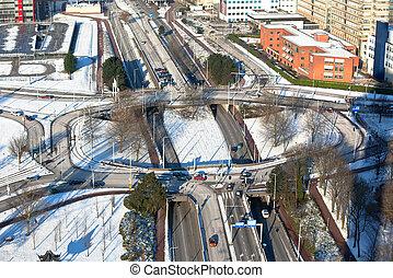 road junction - big road junction in Rotterdam. horizontal...