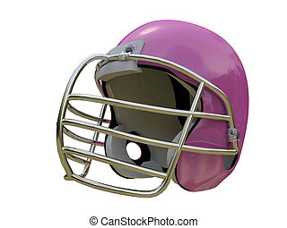 pink football helmet isolated on white background