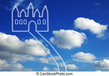 Fantasy castle in clouds - One fantasy castle in clouds