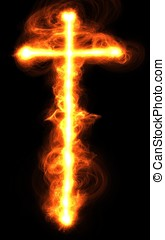 A flaming Cross on black background