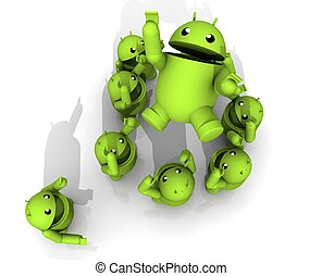 3D ANDROID CELEBRATE - A GROUP OF GREEN ANDROID CELEBRATE TO...
