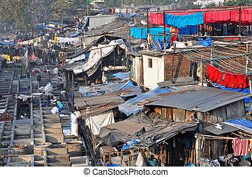 Dhobi Ghat in Mumbai, India.